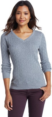 Caribbean Joe Women's Cotton Cable Knit V-Neck Pullover Sweater
