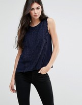 Greylin Gianna Fringe Trim Blouse