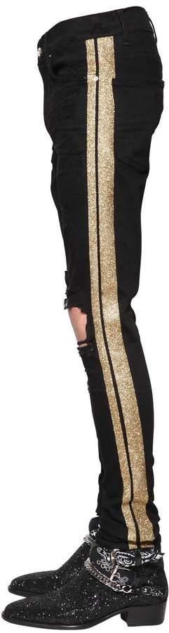 Amiri 16cm Glitter Stripes Cotton Denim Jeans