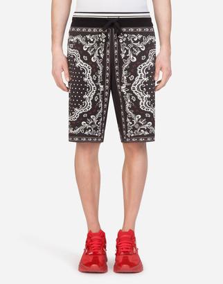 Dolce & Gabbana Jersey Bermuda Jogging Shorts In Bandana Print