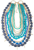 ABS by Allen Schwartz Gold-Tone Spike & Blue Stone Multi-Row Necklace
