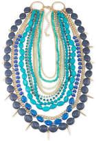 ABS by Allen Schwartz Gold-Tone Spike & Blue Stone Multi-Row Necklace