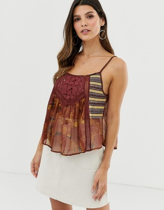 Y.A.S festival patchwork crop cami top