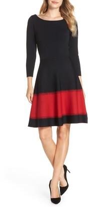 Eliza J Contrast Stripe Fit & Flare Dress