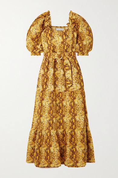 Faithfull The Brand Net Sustain Rumi Belted Tiered Snake-print Linen Midi Dress