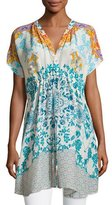 Johnny Was Morning Dew Short-Sleeve Drawstring Printed Tunic