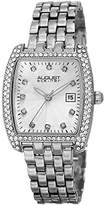 August Steiner Women's AS8180SS Silver Crystal Accented Quartz Watch with White Diamond Dial and Silver Bracelet