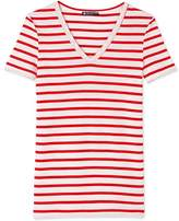 Petit Bateau Womens striped original rib V-neck T-shirt
