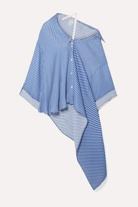 Palmer Harding palmer//harding - Jasmin Oversized Asymmetric Off-the-shoulder Reversible Gauze Shirt - Blue
