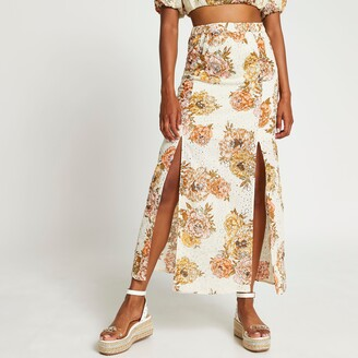 River Island Womens White floral broderie double split maxi skirt