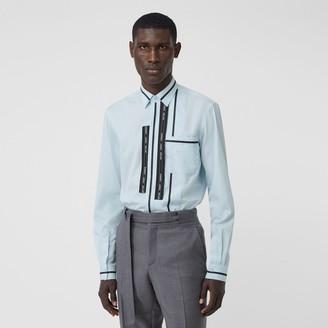 Burberry Classic Fit Logo Tape Detail Cotton Poplin Shirt