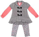 Little Lass Coral & Gray Sweater Set - Toddler & Girls