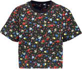 Love Moschino Floral-print pleated jersey T-shirt