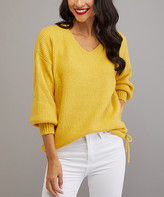 Milan Kiss Women's Pullover Sweaters MUSTARD - Mustard Side-Tie Puff-Sleeve Sweater - Women