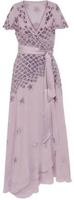 Temperley London Starlet Embellished Georgette Wrap Gown