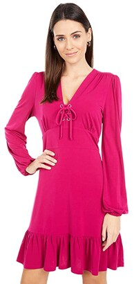 MICHAEL Michael Kors Long Sleeve Lace-Up Dress (Azalea) Women's Clothing