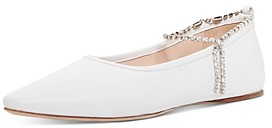 Miu Miu Women's Crystal Ankle Strap Pointed Toe Flats