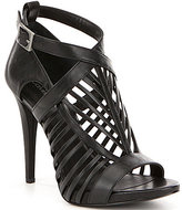 Calvin Klein Nadia Leather Caged Two-Toned Stiletto Dress Sandals