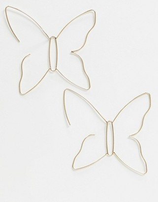 ASOS DESIGN pull through earrings in butterfly design in gold tone