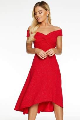 Quiz Red Bardot Knot Front Glitter Dip Hem Dress