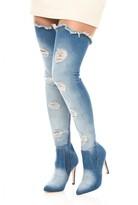 AX Paris Dark Blue Denim Thigh High Boots