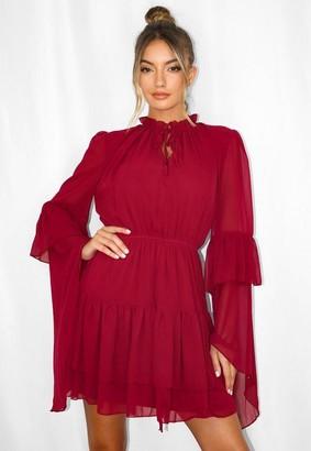 Missguided Burgundy Key Hole Flutter Sleeve Smock Dress