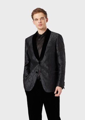 Giorgio Armani Soho Collection Slim-Fit Half-Canvas Jacket With Embossed Design