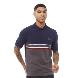 Fred Perry Mens Chest Stripe Polo Carbon Blue