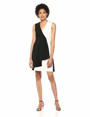 Taylor Dresses Women's Sleeveless Colorblock Ruffle Front Dress