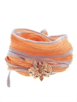 Catherine Michiels Wild Orchid Rose Gold Charm & Silk Bracelet Wrap