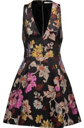 Alice + Olivia Alice+olivia Mollie Pleated Metallic Brocade Mini Dress