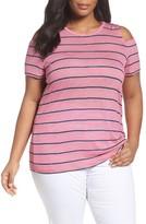 MICHAEL Michael Kors Plus Size Women's Cold Shoulder Stripe Tee