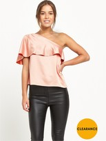 Miss Selfridge PETITE One Shoulder Blouse - Nude - Available From Size 4 - 14
