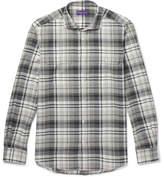 Ralph Lauren Purple Label Stewart Checked Cotton And Cashmere-blend Shirt - Gray