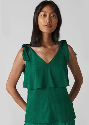 Jacquard Tie Shoulder Top