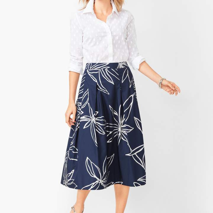 Talbots Floral Pleated Full Skirt
