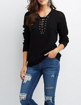 Charlotte Russe Shaker Stitch Lace-Up Front Sweater