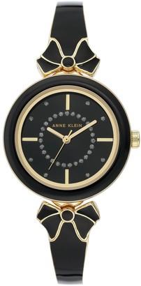 Anne Klein Womens Black Glitter Semi-Bangle Bracelet Bow Watch