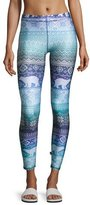 Terez Blue Hues Fair Isle Performance Leggings, Blue