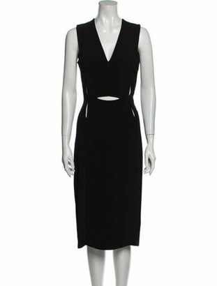 Lanvin V-Neck Midi Length Dress Black