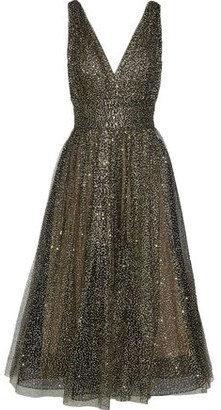 Marchesa Gathered Glittered Tulle Midi Dress