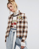 Obey Zip Front Shirt Jacket With Patches