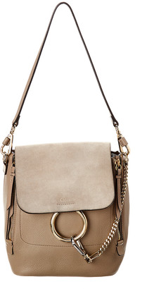 Chloé Beige Leather & Suede Faye Backpack