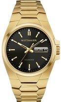 Wittnauer Men's Gold Tone Steel Bracelet & Case Quartz Black Dial Analog Watch WN3059