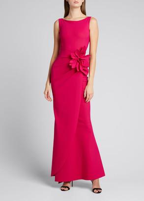 Chiara Boni Glenaly Sleeveless Floral Embellished Wrap Gown