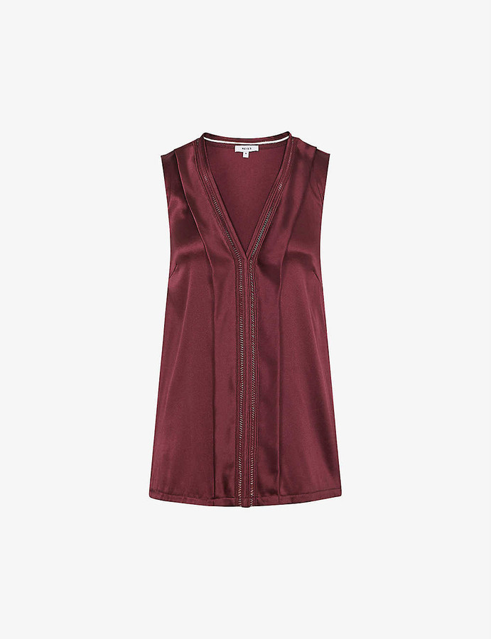 Reiss Chelsea laddered-stitch silk-blend top