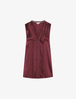 Reiss Chelsea laddered-stitch silk-blend top
