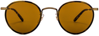 Garrett Leight Wilson 46 in Tortoise-Antique Gold II-Yellow Tortoise & Semi-Flat Pure Brown | FWRD