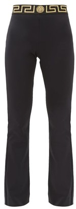 Versace Logo-intarsia Tech-jersey Flared Leggings - Black