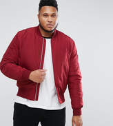 Asos PLUS Bomber Jacket with MA1 Pocket in Red